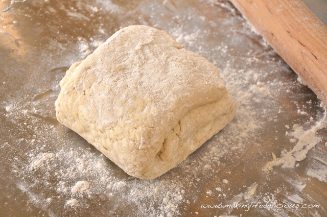 Dough folded into an approximately 4-inch square.